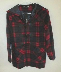 Women's / Juniors Allegra K Red Plaid Pea Coat Hooded Jacket