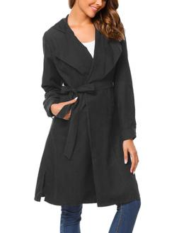 Beyove Women's Lightweight Lapel Belted Trench Coat Cardigan