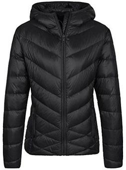 Wantdo Women's Lightweight Packable Puffer Down Coats, Black