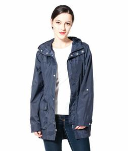 Women's Lightweight Water-Resistant Hooded Trench Coat Rain