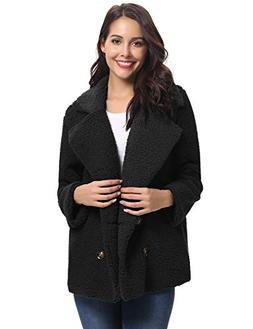 Abollria Women's Long Sleeve Coat Casual Lapel Fleece Fuzzy