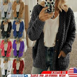 Women's Long Sleeve Fluffy Fleece Cardigan Sweater Pocket Co