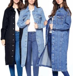 Women's Maxi Length Denim Cotton Oversize Long Casual Coat B