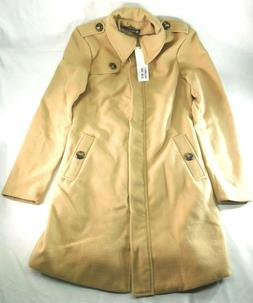 Allegra K Women's Notched Lapel Belted Trench Coat Size XS