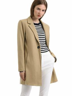 Allegra K Women's Notched Lapel Button Winter Trench Coat ~