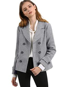 Allegra K Women's Notched Lapel Double Breasted Pea Coat M G