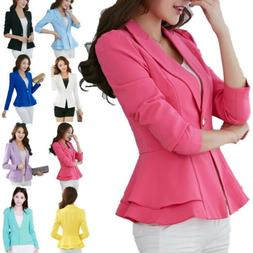 Women's OL Office Lady Long Sleeve Casual Blazer Suit Jacket