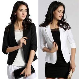 Women's OL Work Office Lady 3/4 Sleeve Casual Blazer Suit Ja