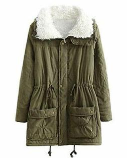 Women's Plus Size Faux Fur Lined Zipper Closure Winter Coats