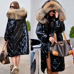 Women's Plus Size Winter Warm Long Down Hooded Parka Coats C