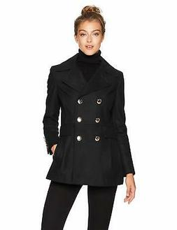 Calvin Klein Women's Polished Wool Coat with Button Detail,