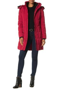 Calvin Klein Women's Quilted Hooded Faux Fur Trim Puffer Jac