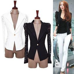 Women's Slim Suit Blazer Coat Lace Crochet Jacket Cardigan B