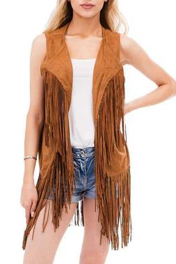 women s spring hippie faux suede fringed