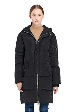 Orolay Women's Thicken Plus Size Down Jacket Hooded Coat Bla