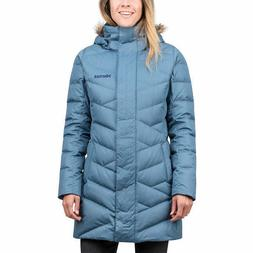 Marmot Women's Varma Jacket Long Down Blue Faux Fur Hood Siz