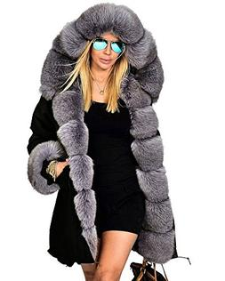 Roiii Women's Winter Thicken Faux Fur Hooded Plus Size Parka