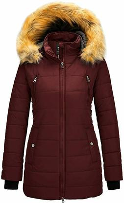 Wantdo Women's Warm Winter Coat Thicken Puffer Coats with Re