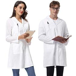 Abollria Women's White Full Length Lab Coat with Three Pocke