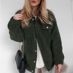 Women's Winter Warm Fleece Jacket Coat Tops Fluffy Cardigans