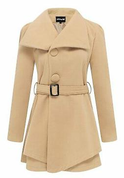 Wantdo Women's Wool Wrap Swing Coat with Belt US Large, Khak