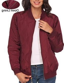 Beyove Women Short Biker Bomber Jacket Classic Quilted Coat