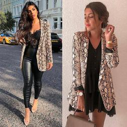 Women Snake Skin Print Long Sleeve Blazer Jacket Outwear Car