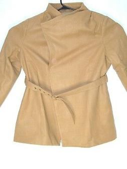 Belted Coat Allegra K Women Stand Collar Wrap Front w/ Belt