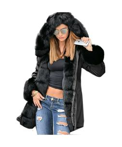 Roiii Women Thicken Warm Winter Coat Hood Parka Overcoat Lon