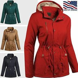 Women Trench Parka Hooded Coat Jacket Outwear Winter Warm Lo