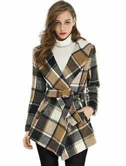 Women Turn Down Collar Asymmetric Hem Belted  Plaids Wrap Co