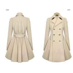 Womens Double Breasted Trench Coat OL Work Blazer Suit Overc
