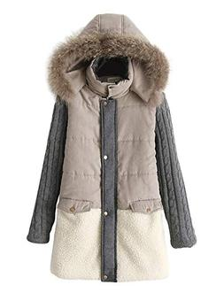 ACE SHOCK Women Winter Coat with Faux-Fur Hood, MD-Long Thic