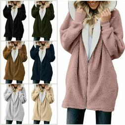 Women Winter Fuzzy Fluffy Coat Fleece Fur Jacket Outerwear H