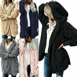 Women Winter Fuzzy Fluffy Coat Fleece Fur Cardigan Long Jack
