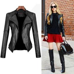 Women Winter PU Leather Jacket Coats Zip Up Biker Casual Fli