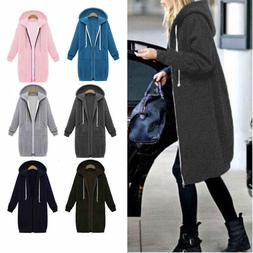 Women Winter Zipper Hoodie Sweater Hooded Long Jacket Sweats