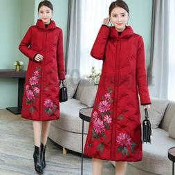 Womens Autumn Winter Floral Printed Down Cotton Padded Jacke