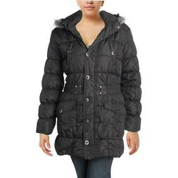 Urban Republic Womens Black Hooded Parka Coat Outerwear Juni