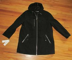 Calvin Klein Womens Black Trench Coat Detachable Hood 2X NWT