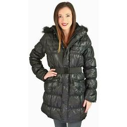 Urban Republic Womens Black Winter Outerwear Puffer Coat Jac