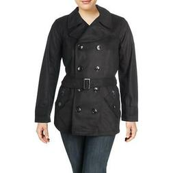 Urban Republic Womens Black Wool Blend Pea Coat Outerwear Ju