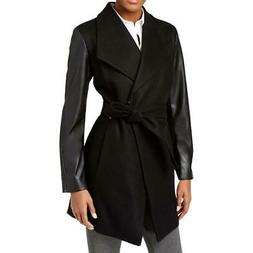 Calvin Klein Womens Black Wool Faux-Leather Trim Coat Outerw