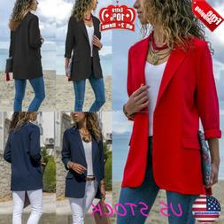 WOMENS BLAZER LAPEL SUIT COAT CAREER FORMAL OL LONG SLEEVE J