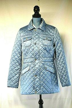 Calvin Klein Womens Blue Winter Quilted Coat Silver Buttons