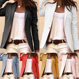Womens Candy Color Long Sleeve Casual Slim Suit Jacket Blaze