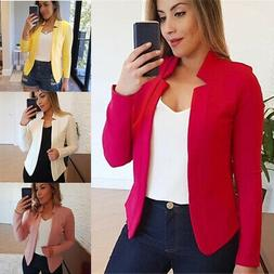 Womens Casual Slim Blazer Suit Jacket Solid Coats Formal Car