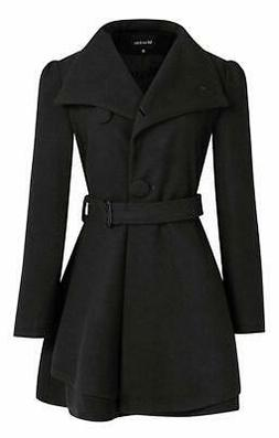 Wantdo Womens Coat Deep Black Size Small S Swing Belted One-