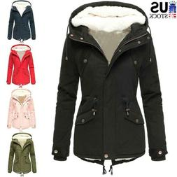 Womens Coat Fleece Lined Hooded Parka Coat Jacket Ladies Win