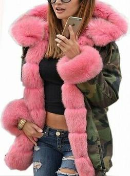 Roiii Womens Coat Pink Size Medium M Parka Faux Fur Hooded C